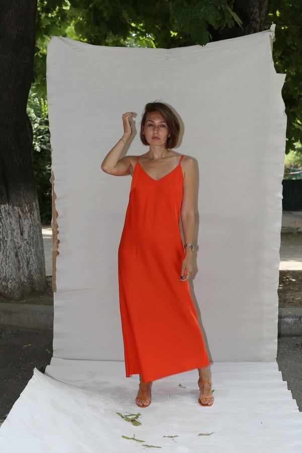 Платье комбинация оранж