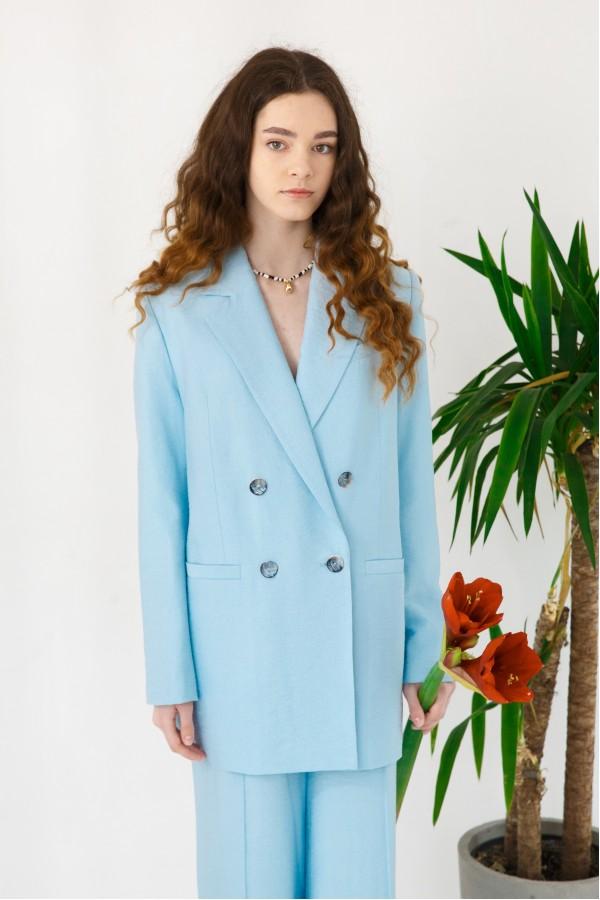 Пиджак голубой из льна