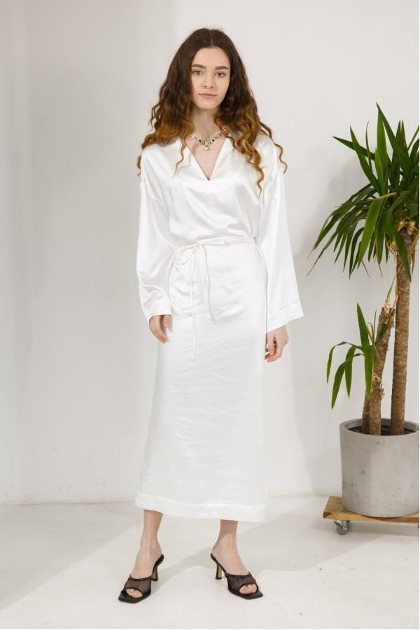 Платье атласное белое VONA&LANA
