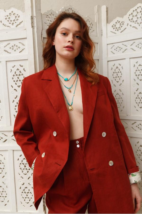 Пиджак терракотовый