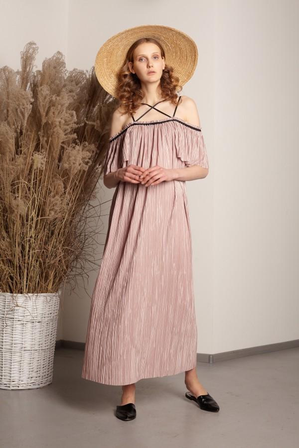 Платье гофре розовое