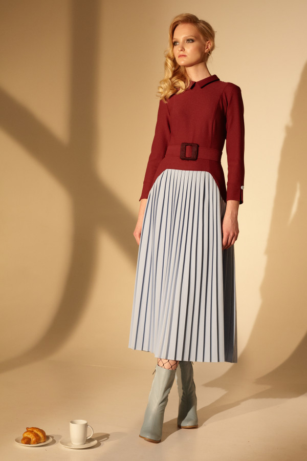 Burgundy dress with light blue skirt