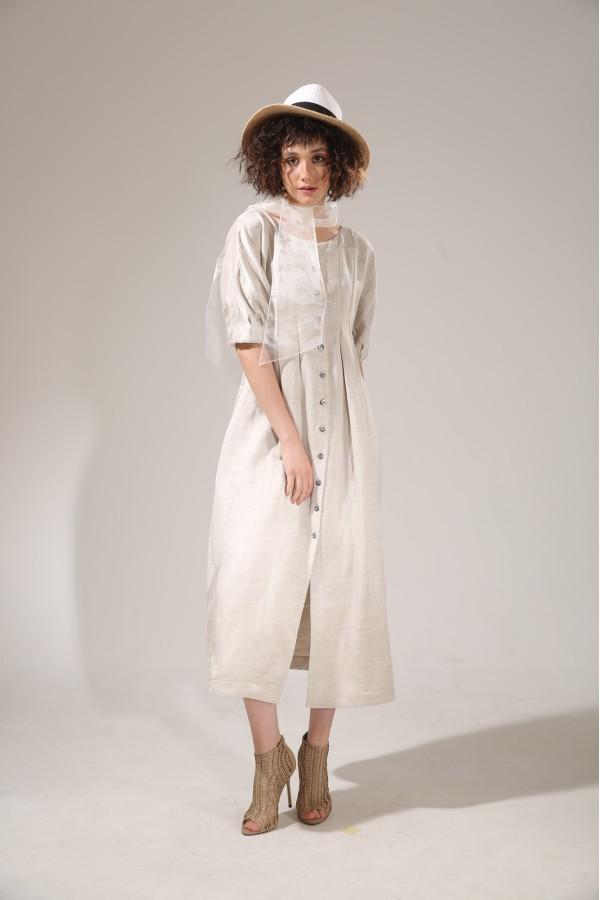 Платье лен с пуговицами